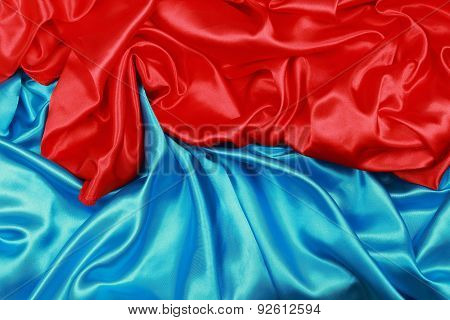 Blue And Red Silk Cloth Of Abstract Background