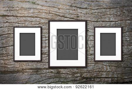 Blank Photo Frame On Old Wood Background