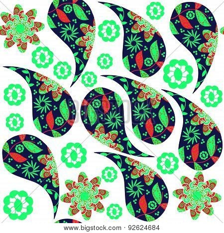 Colorful Paisley Seamless Pattern In Red, Green,  Bluecolors And Seamless Pattern In Swatch Menu, Ve