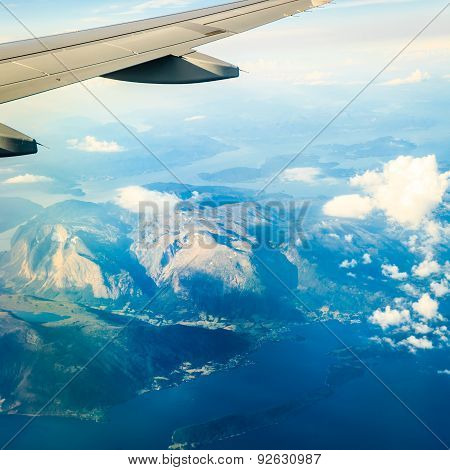 View From Airplane Flying Over Norway.