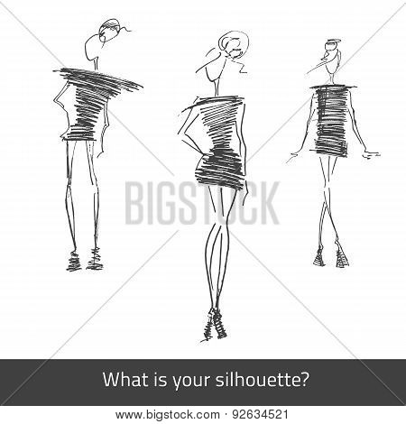 Vector Model Fashion Silhouette Set