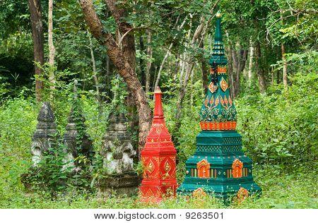 Tombstones In Rural Thailand