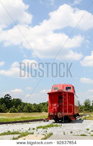 Caboose By Side Of Tracks