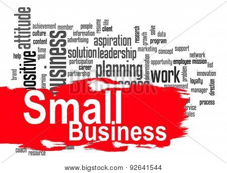 Small Business Word Cloud With Red Banner