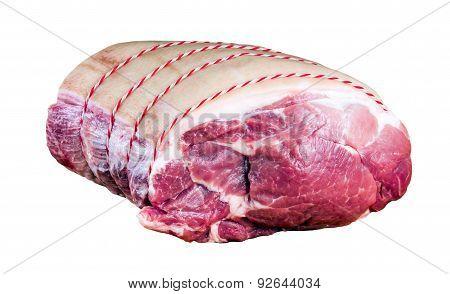 Farm British Boneless Pork Shoulder, ready to cook. isolated on white background