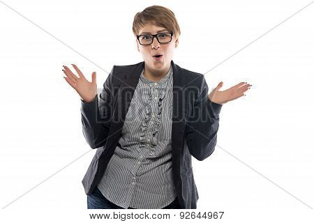 Photo of pudgy surprised business woman