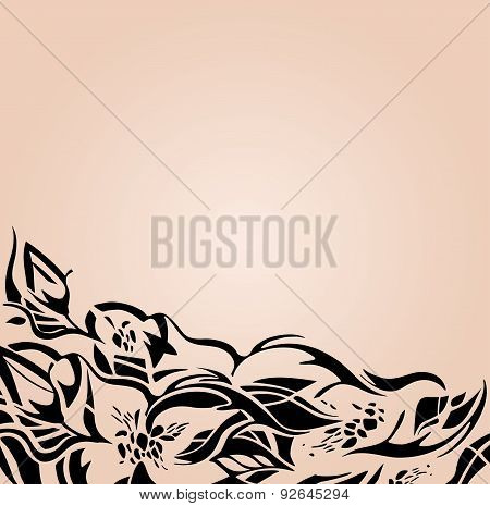 Fashionable Wedding background in beige and ecru, with black floral ornaments