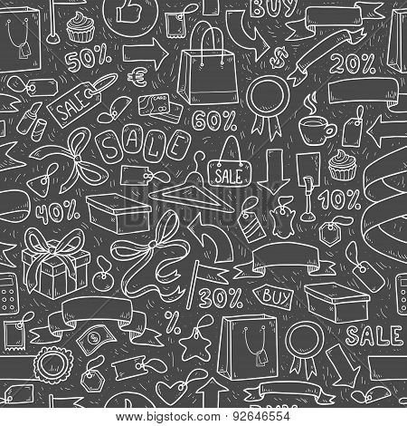 Vector Pattern Of Shopping Items On Black Background