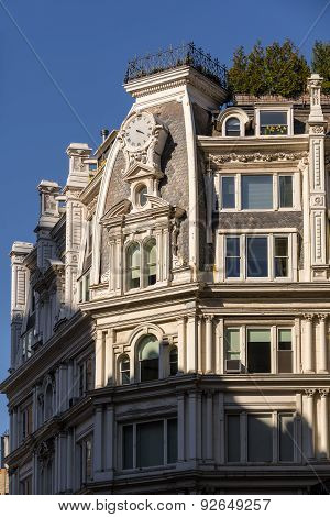Architectural Detail Of Second Empire Building, Chelsea, New York City
