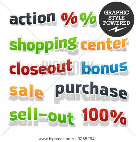 Collection of colorful and useful vector illustrations for shopping, sale and business