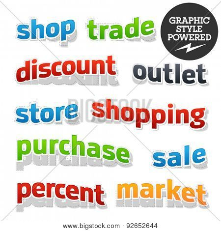 Collection of colorful and useful vector illustrations for shopping, sale and business 3