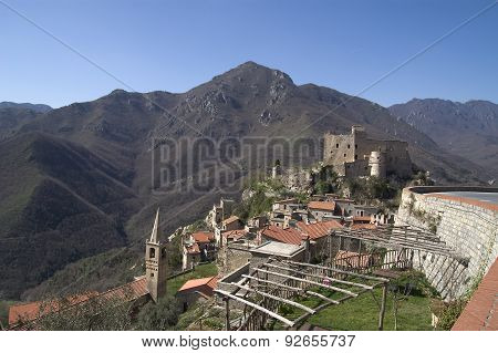 typical hinterland ligurian village in Italian country, called Castelvecchio