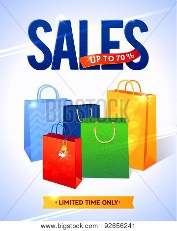 Sale poster with percent discount. Illustration of paper shopping bags and lights