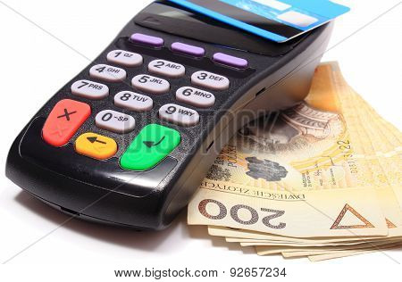 Payment terminal with contactless credit card and money on white background credit card reader payment terminal with cash finance concept poster