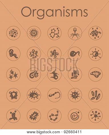 Set of organisms simple icons