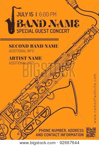 Jazz Music Concert Saxophone Horizontal Music Flyer Template .