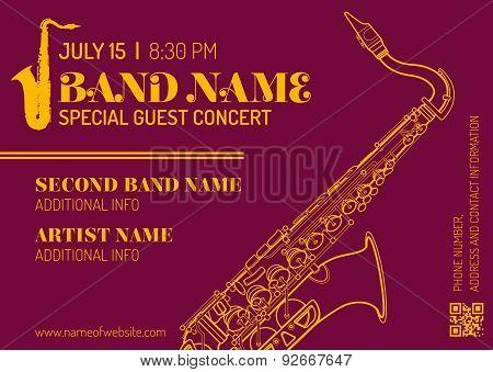 Jazz Music Concert Saxophone Vertical Music Flyer Template .