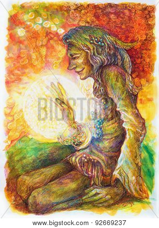Green Hippie Indian Shaman With A Ball Of Healing White Light.