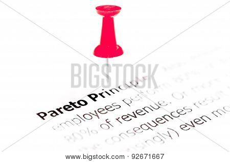 Words Pareto Principle Pinned On White Paper With Red Pushpin