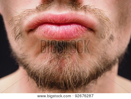 Hot Male Lips With Untrimmed Beard At Closeup
