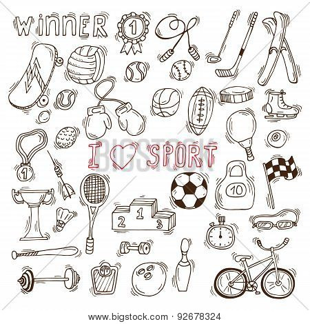 Fitness And Sport Vector Elements. Hand Drawn Sport Doodle Icons