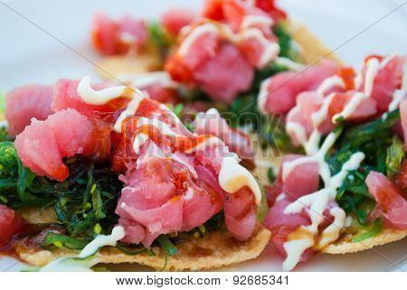 Fresh Raw Yellowfin Tuna Nachos with Seaweed poster