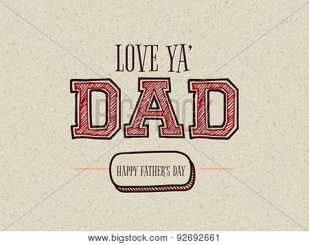Creative text Dad on stylish background for Happy Father's Day celebration, can be used as greeting or invitation card design.