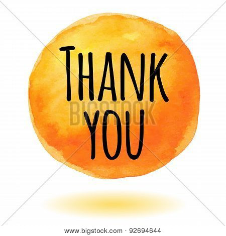 Thank you card with orange watercolor circle