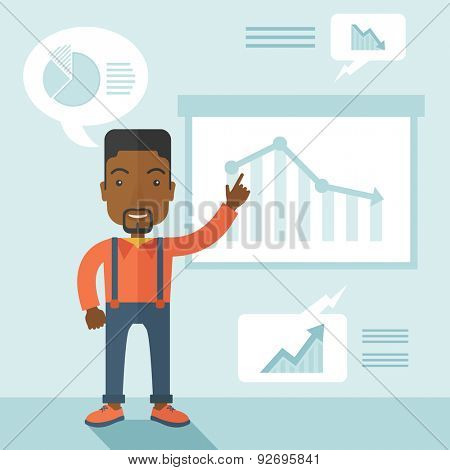 A finance officer with his presentation that shows in a graph the arrow from top going down. A contemporary style with pastel palette soft blue tinted background. Vector flat design illustration