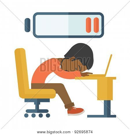 A tired black employee fall asleep at his desk with sign of low batt on the top of his head. A Contemporary style. Vector flat design illustration isolated white background. Square layout.