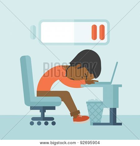 A tired black employee fall asleep at his desk with sign of low batt on the top of his head. A contemporary style with pastel palette soft blue tinted background. Vector flat design illustration
