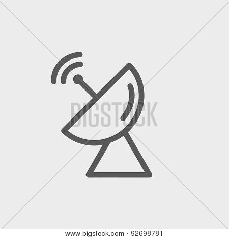 Radar satellite dish icon thin line for web and mobile, modern minimalistic flat design. Vector dark grey icon on light grey background.