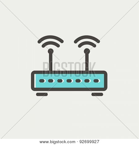 Wireless router icon thin line for web and mobile, modern minimalistic flat design. Vector icon with dark grey outline and offset colour on light grey background.