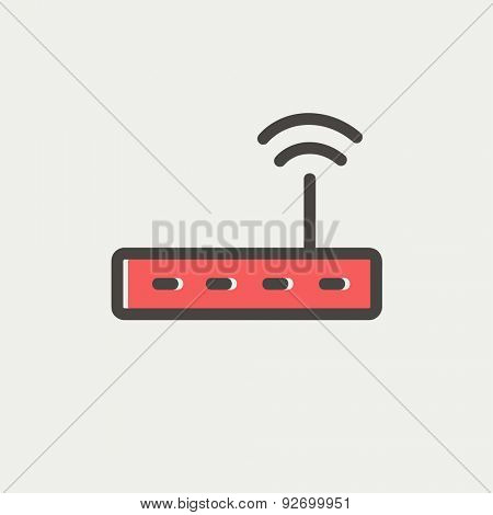 Wifi router modem icon thin line for web and mobile, modern minimalistic flat design. Vector icon with dark grey outline and offset colour on light grey background.