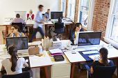 Wide Angle View Of Busy Design Office With Workers At Desks poster
