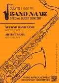 vector orange brown jazz music concert sax music flyer template minimal design. poster