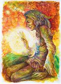 Green hippie indian shaman with a ball of healing white light poster