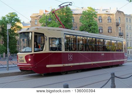 ST. PETERSBURG, RUSSIA - MAY 17, 2016: People in the tram of 40th line. The city tramway system was the world longest since late 1980s till 2000s, but now has 4th place in the world