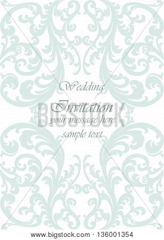 Wedding Invitation card with lace ornament. Opal green color. Vector