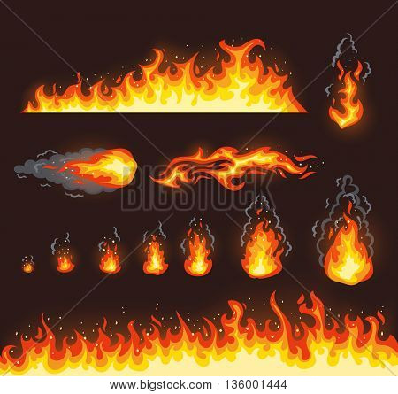 Collection of vector fire illustrations with different size
