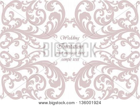Wedding Invitation card with lace ornament. Orchid color. Vector