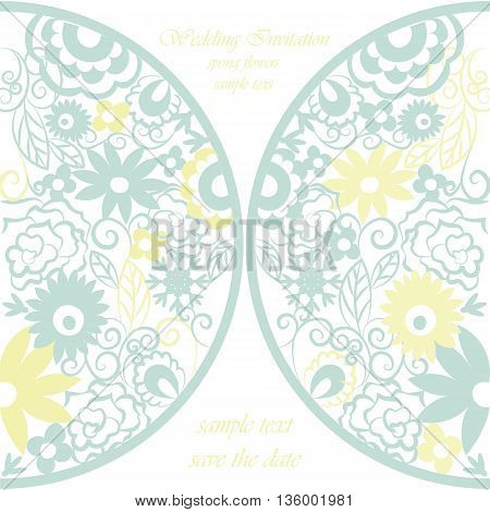 Vector round invitation card ornamental lace crochet with floral elements. Elegant lacy feather decoration greeting card wedding invitation or announcement template. Colorful. Springtime theme