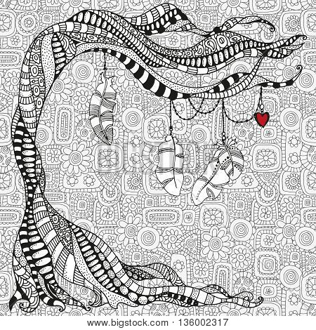 Artistically tree with feathers and red heart. Zentangle patterns. Valentines day. Sketch by trace. Hand-drawn tribal, ethnic, floral, doodle, vector, design elements. Black and white. Coloring book.