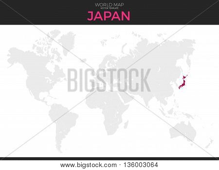 Japan location modern detailed vector map. All world countries without names. Vector template of beautiful flat grayscale map design with selected country and border location