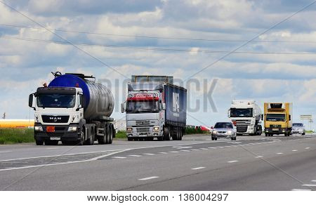 ROSTOV / DON. RUSSIA. M4-DON. June 10, 2016. The trailer transports cars on the highway M4 Don. June 16. Russia