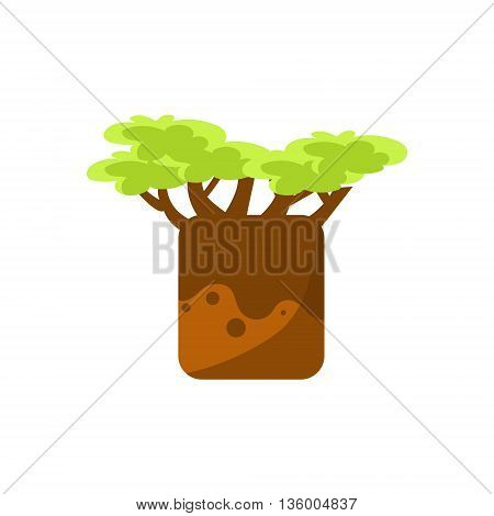 Baobab Tree Drawing Cute Childish Style Bright Color Design Icon Isolated On White Background