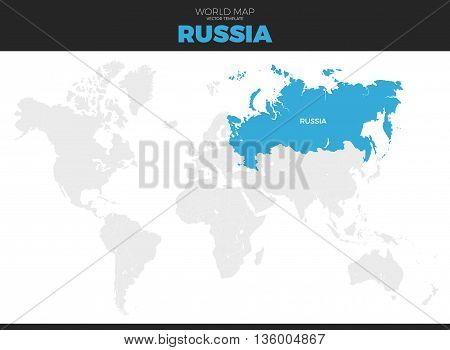 Russian Federation Russia location modern detailed vector map. All world countries without names. Vector template of beautiful flat grayscale map design with selected country and border location