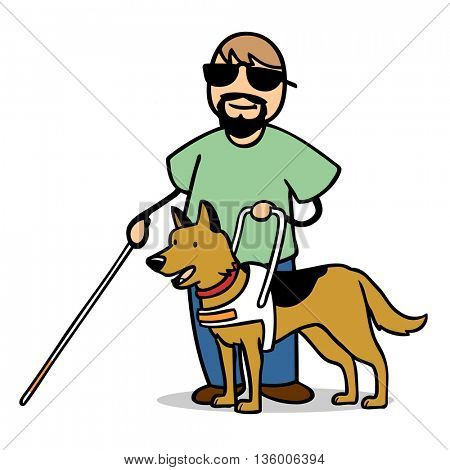 Blind cartoon man with guide dog and cane