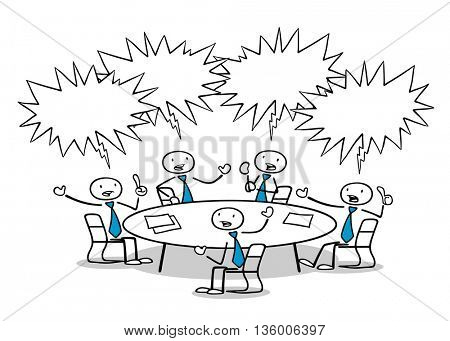 Cartoon business people ranting and discussing in a meeting