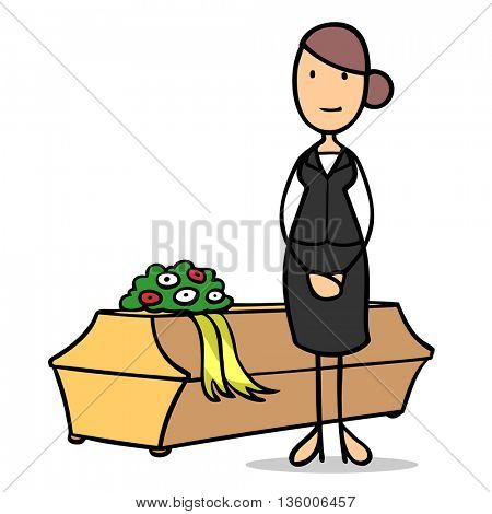Cartoon woman as undertaker with a coffin and flowers